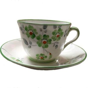 Vintage T F & S Ltd. Phoenix Bone China Green White Cup Saucer
