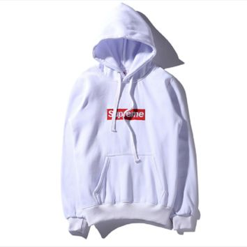 Supre embroidered hooded sweater men and women thin couple coat