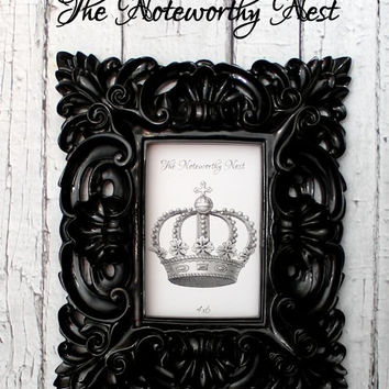 Ornate frame // ornate picture frame// Unique frame // Gift Frame // 4x6 Frame // Resin Frame // High Gloss Black Frame // Beautiful frame