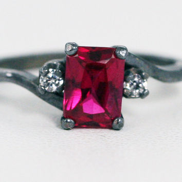 Oxidized Ruby and CZ Accent Ring, Oxidized 925 Sterling Silver, July Birthstone Ring, Oxidized Emerald Cut Ruby Ring, Radiant Ruby Ring