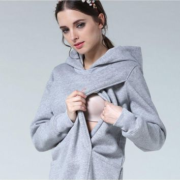 2in1 Maternity & Nursing Women Breastfeeding Clothes Casual Warm Hoodies Pregnancy Top Solid Color Pullover Tops Size S-3XL