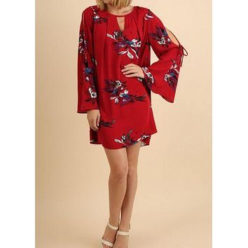 Floral Print Keyhole Dress with Cutout Bell Sleeves