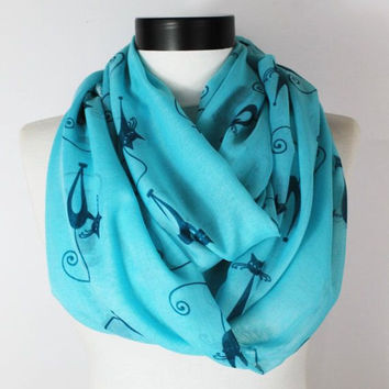 cat turquoise scarf,infinity scarf, scarf, scarves, long scarf, loop scarf, gift