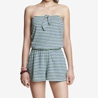 STRIPED STRAPLESS KNIT ROMPER