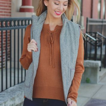 Must-Have Herringbone Vest - Grey