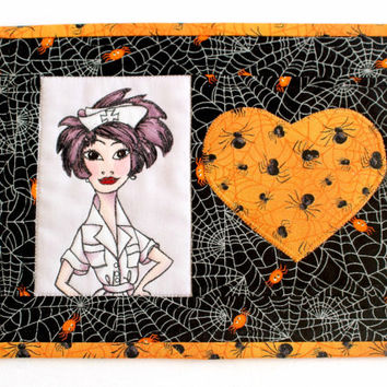 Halloween Mug Rug, Quilted Mug Rug, Nurse Mug Rug, Spider Snack Mat, Black Orange Mug Rug, Halloween Decor, Gift for Nurse, Quiltsy Handmade