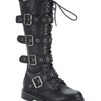 Demonia By Pleaser Rival 4 Buckle Combat Boots