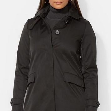 Plus Size Women's Lauren Ralph Lauren A-Line Raincoat with Detachable Hood & Liner,