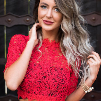 Giving Up On Love Lace Crop Top Red