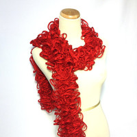 Red Hand Knit Ruffle Scarf