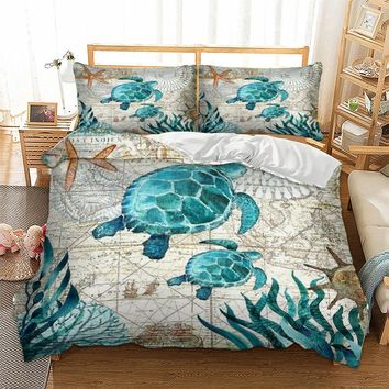 Bay Turtle Marine Sea Bedding Duvet Cover Octopus Dolphin Whale Bedding Set Single Twin Full Queen King Size Polyester Bed Linen