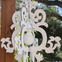 White Painted w/o Light kit - Lighted Michelle Chandelier