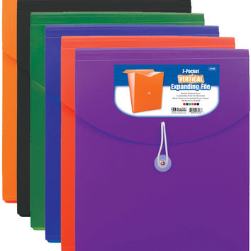bazic 7-pocket letter size vertical poly expanding file Case of 12