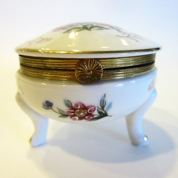 Napcoware Import Japan Footed Porcelain Box Marked Numbered