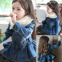 Kindstraum 2017 New Children Spring Denim Jackets Brand Girls Shrink Waist Clothes Fashion Autumn Soft Outwear for Kids,RC1179