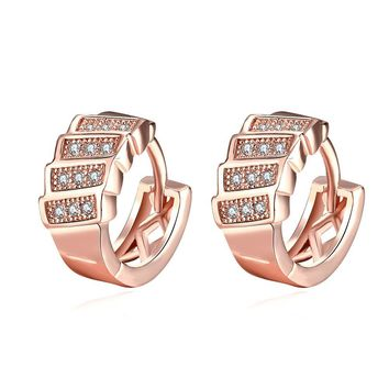 Stacked Huggie Earrings in Rose Gold