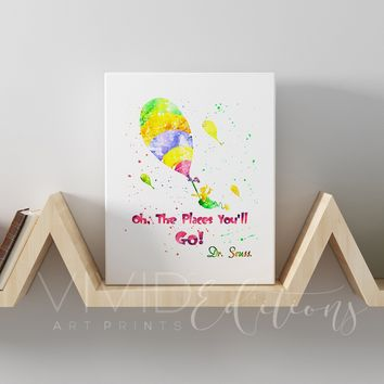 """Oh The Places You'll Go!"" Dr. Seuss Quote Gallery Wrapped Canvas"