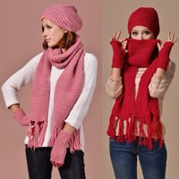 Winter Scarf Hat Knitted Scarf And Hat Set For Women Thicken Knitted Hat Fashion Girls Hat Scarf Gloves Accessories SV013609|27701 = 1958036612