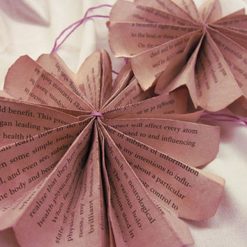 Purple Tinted Book Page Paper Rosette, Pinwheel Hanging, Vintage Page Flower Fan, Country Chic Wedding Decor, Charming Home Decor, Wall Art