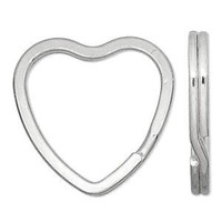 Key Ring Metal Heart 32mm (1 1/4') Silver 1pc
