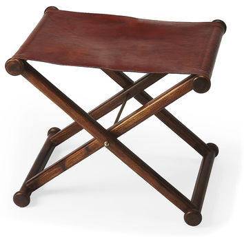 Teodor Leather Folding Stool, Vanity Stools