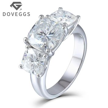 DOVEGGS 5.2 Carats tcw Cushion Cut Moissanite Diamond 3 Stone Engagement Wedding Ring Genuine 14K 585 White Gold For Women