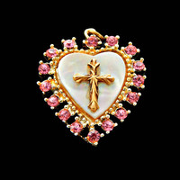 Mother of Pearl Heart and Cross Pendant with Pink Rhinestones