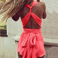 Strappy Open Back Romper