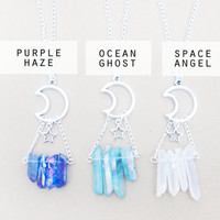 Pastel Goth Crystal Necklace // Moon Crystal Quartz Necklace // Purple Blue Angel Aura Quartz Necklace // Pastel Grunge Kawaii Boho