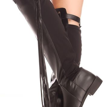 BLACK FAUX LEATHER SIDE ZIPPER TOP FRINGE BUCKLE STRAP OVER THE KNEE CASUAL BOOTS