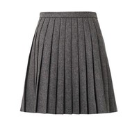 Pleated natté-wool mini skirt