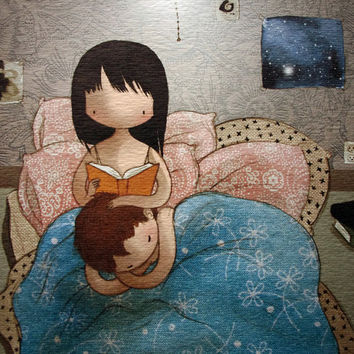 $20.00 Bedtime Story cute romantic couple 8x10 color fine art by stasiab