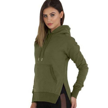 Hoodies Tops Split Long Sleeve Slim Hats [9307400452]