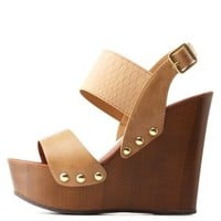 Camel Texture Block Wooden Platform Wedges by Charlotte Russe