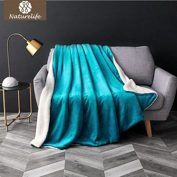 Naturelife Sherpa Double layer  Blanket Thick Soft Throw Blanket on Sofa Bed Plane Travel Plaids Adult Home Textile Cobe