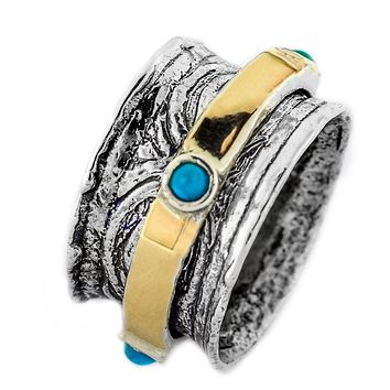 Spinning Ring Silver , Gold & Opal Stones