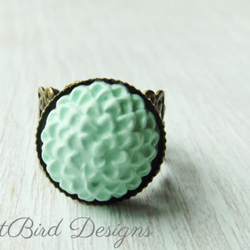 Mint green flower ring, polymer clay chrysanthemum ring
