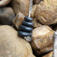 Lake Superior necklace, Lake Superior jewelry,  rock cairn necklace, stacked river rock, basalt stone, silver leaf