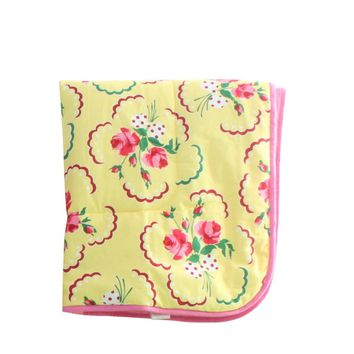 Emma's Yellow and Pink Floral Crib Comforter   Bold Bedding