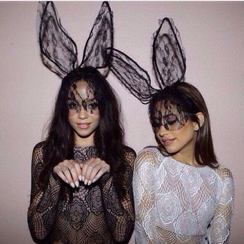 Lace lace rabbit ears prom fashion perspective veil headband Talk about cute and sassy! Get in-touch with your flirt side with these bunnies