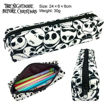 New The Nightmare Before Christmas Canvas Pencil Bag Printing Pouch Zipper Case Student Gift Wallet Bag Gift