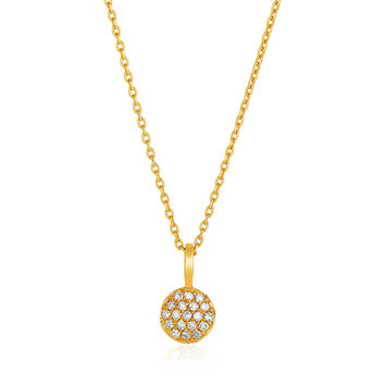 Diamond Encrusted Solid Circle Pendant & Necklace in 14k Gold 1/10 ct tw