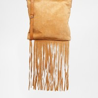 ASOS Leather And Suede Festival Fringed Cross Body Bag