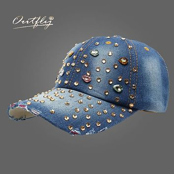 point drill jean cap women Denim baseball cap snapback Rhinestone Hat Hip hop Cap fashion sun Hat casquette b109