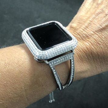 Apple Watch Bangle Cuff Band 38mm  42mm  Series 1 2 3 Womens Mens Silver Rhinestone Crystal & Case Cover Face Bezel Iced Out Lab Diamond Set
