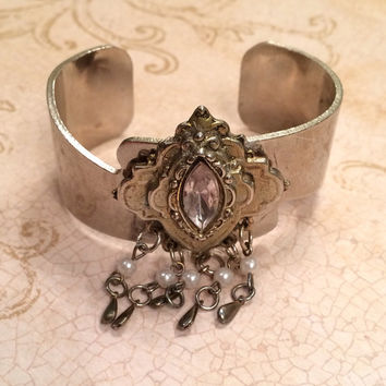 Silver-toned Art Nouveau Brooch with Marquise-cut stone Repurposed Bracelet