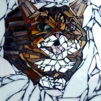 Lil Bub Stained Glass Mosaic Artwork. Internet Cat Wall Art. Famous Magic Kitty Fan Art Home Decor.