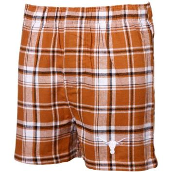 Texas Longhorns Burnt Orange-Black Plaid Legend Flannel Boxer Shorts