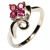 Ruby Flower Promise Ring - Beautiful Promise Rings