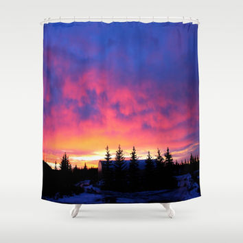 Candy Skies at the Farm Shower Curtain by 2sweet4words Designs